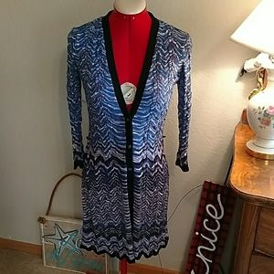 9 West long Chevron Cardigan S blue & purple
